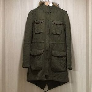 Hei Hei Anthro Olive Quilted Anorak w/ Sherpa Sz 0